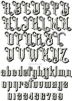 Denise Bayers designed the multi-layered LHF Bandolier font set to have a robust yet friendly feel. We& sure you& find many uses for this hand-crafted font set. Set includes a Regular font and 2 stackable Shadow fonts. Tattoo Word Fonts, Tattoo Fonts Alphabet, Tattoo Lettering Styles, Caligraphy Alphabet, Graffiti Lettering Alphabet, Chicano Lettering, Creative Lettering, Lettering Design, Fonte Alphabet