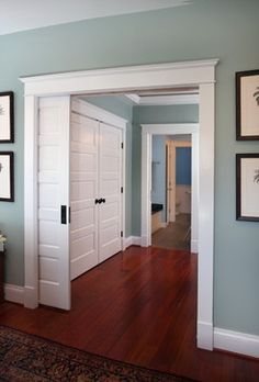 Benjamin Moore's 'Pleasant Valley Blue' - This is just that perfectly neutral blue. Love those doors!