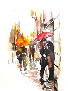 Paris Print from Original Watercolor Travel Illustration Modern Art Painting titled Rainy Paris