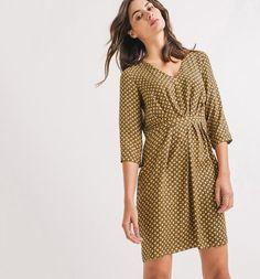 Vestido estampado estampado amarillo verdoso - Promod