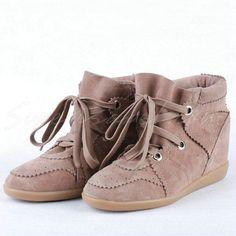 Shop Isabel Marant Bobby Khaki Suede Wedge Sneakers Online...