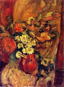 Flowers in a Pot on a Chair - Chaim Soutine - The Athenaeum Gouache, Chaim Soutine, Georges Braque, Classic Paintings, Jewish Art, Flower Of Life, Sculpture, French Art, Gravure