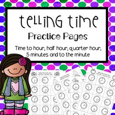 "Super practice for telling time to the hour, half hour, quarter hour, 5 minutes, and minute.  There are 144 problems total, separated into 3 sets with 48 in each set"" ~4 pages time to hour, half hour, quarter hour~4 pages time to 5 minute intervals~4 pages time to the minute~answer keys for all pages These problems are perfect for guided work, practice, homework, group work or independent assessment.Check out my related products:Telling Time Word ProblemsElapsed Time Task CardsTelling Time…"