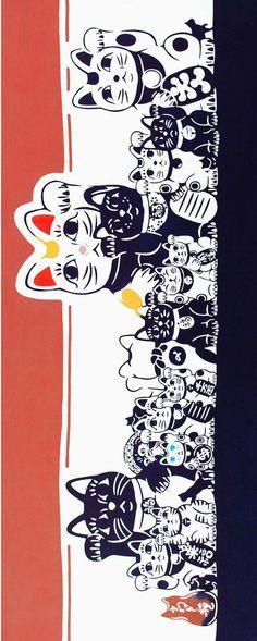 Japanese Tenugui Towel Cotton Fabric, Lucky Cat, Kawaii Kitty, Modern Wall Art, Hand Dyed Art Fabric, Wrapping, Home Decor, Headband, JapanLovelyCrafts