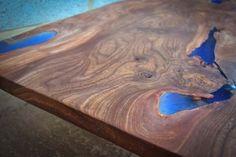 Live edge elm coffee table detail