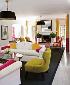 Really Cool Colorful Living Room With White Sofa And Two Tone Yellow And Pink Curtains So Happy