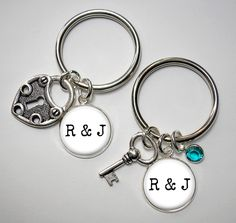 Couple's Key Chains - Heart Lock and Key with Initial Charms - Optional Established Date and Optional Crystal by Analiese on Etsy