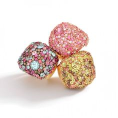 Rings in 18k yellow and rose gold with brown and white diamonds, pink, smoky and lemon quartz, pink tourmaline, ruby mandarin garnet and aquamarine by Brumani