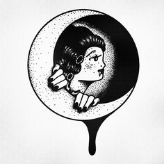 STANLEY DUKE tattoo design tattoos illustration dotwork linework blackwork stippling black moon pinup old school