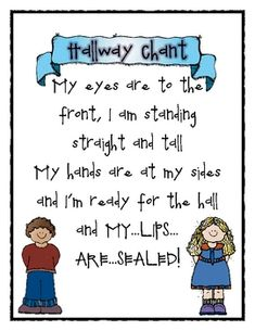FREE from Teaching Tales on TpT. This product includes a printable chant for getting students ready for the hall, a t-chart for specifics of hallway expectations, and a chart for t. Organization And Management, Behavior Management, Classroom Organization, Classroom Management, Organization Ideas, First Year Teaching, Kindergarten Classroom, School Classroom, Classroom Ideas