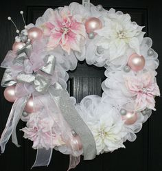 Pink and White Poinsettia Christmas Deco Mesh Wreath. .