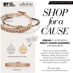Stella & Dot has launched their annual Breast cancer boutique again!!! All net proceeds will benefit the Noreen Fraser Foundation. Help us fight this battle together! www.stelladot.com/Johelys