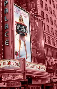 Legally Blonde: The Musical - On Broadway this theme would adorable if we made it look like it was on broadway with the lights and everything Broadway Nyc, Broadway Theatre, Broadway Shows, Theatre Nerds, Music Theater, Dear Evan Hansen, Legally Blonde Broadway, Blonde Aesthetic, Pink Aesthetic