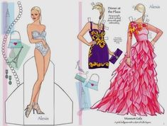 Fashion Models Dress Up Paper Dolls - by Dover Publications Paris, London, New York, Rome - Travel the Globe with these Super Models! - Two Fashion dress up paper dolls are the weekly freebies from Dover Publications.
