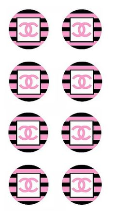 circles - cupcake toppers Coco Chanel Cake, Chanel Cupcakes, Chanel Wall Art, Chanel Decor, Printable Sticker Paper, Chanel Wallpapers, Chanel Poster, Cupcake Toppers Free, Chanel Party