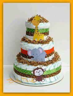 Torta de pañales estilo selvática