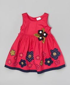 the Silly Sissy Fuchsia & Navy Flowers A-Line Dress - Infant, Toddler & Girls Baby Girl Dress Patterns, Little Girl Dresses, Baby Dress, Girls Dresses, Frocks For Girls, Kids Frocks, Toddler Girl Outfits, Kids Outfits, Toddler Girls
