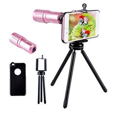 Telephoto lens for iphone,Evershop 10X iPhone Telephoto Lens with Aluminum Telephoto iPhone Camera Lens With Tripod+ Phone Holder + phone case for iPhone 5/5S/SE/6/6S/6 Plus/6S Plus(Rose Gold-iPhone)
