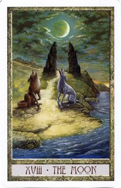 The Moon from the Druid Craft Tarot  ooooh! I want to see the rest of this deck.