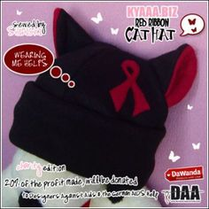 Charity Red Ribbon Cat Hat by shiricki