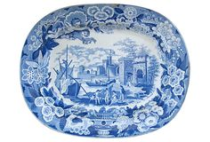 Platter w/ Cherub Border,Antique transferware platter with two cherubs flying in the border. Pattern is part of Don Pottery's Italian Views Series. This is a rare pattern titled Port of Alicata. Impressed number 14 on underside. Made in England, circa 1820.