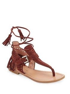 2ee7762322 Alysa Suede Fringe Accented Thong Sandals, Women's, Size: 6M, Brown