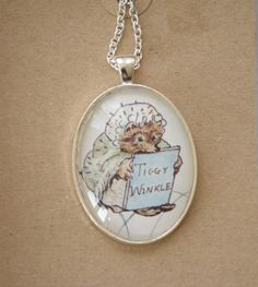 Miss Tiggy Winkle necklace Hedgehog necklace book by NovelCharms