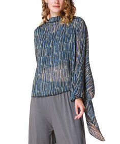 Love this Demoda Blue & Gray Geometric Silk-Blend Sidetail Top by Demoda on #zulily! #zulilyfinds