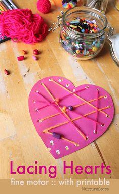 easy preschool valentine heart craft printable lacing cards, fine motor skills threading activity