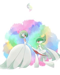 Gardevoir and Gallade in mega form. Looks like they're at the ball.