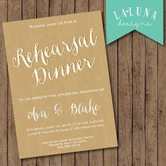 Items Similar To Rehearsal Dinner Invitation Wedding Invite Kraft Paper DIY Printable On Etsy