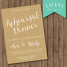 Rehearsal Dinner Invitation, Wedding Rehearsal Dinner Invite, Kraft Paper Invitation, DIY Printable Rehearsal Dinner Invite