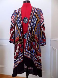 HAVE IT BY CHRISTMAS! BUY IT NOW! Multi-Colored Wrap Shawl Jacket Billy by Flying Tomato Size S Dramatic Print  | eBay