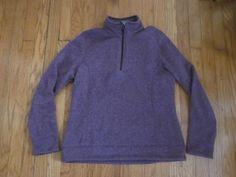 LANDS' END Women's Purple 1/3 Zip Fleece Pullover Sweatshirt M Medium 10 -12 #LandsEnd #SweatshirtCrew