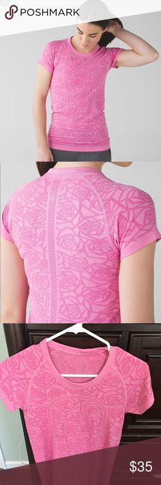 """Lululemon Run Swiftly crew neck tee EUC, beautiful color pink and gorgeous rose pattern """"heathered pink paradise"""". Very feminine and flattering! Size tag removed.  seamless construction No side seams—seamless construction in the body minimizes chafing. lightweight four-way stretch Silverescent® technology: Powered by X-STATIC®, it inhibits the growth of odour-causing bacteria on the top Mesh fabric venting: For airflow in high-sweat areas to keep you cool Slim fit, hip length: Slim fit hugs…"""