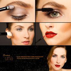 Para descobrir como fazer esse lindo look para a noite, acesse http://www.adoromaquiagem.com.br/dicas-maquiagem/novidades-tendencias/olho-rosa-e-boca-vermelha/16074/ #look #maquiagem #naturauna #dica