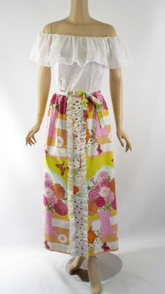 Vintage 1970s Patio Dress Drop Shoulder White Eyelet Maxi by John of California B36 W27 - Offered by Alley Cats Vintage on Ruby Lane