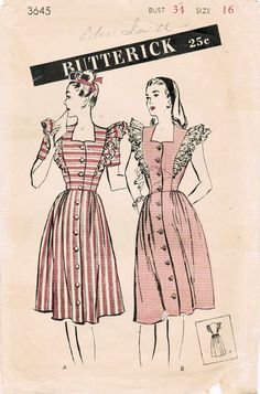 1940s Butterick 3645 Vintage Sewing Pattern Misses' Pinafore House Frock Size 16 Bust 34. $14.00, via Etsy.
