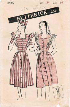 1940s Butterick 3645 Vintage Sewing Pattern by midvalecottage, $14.00
