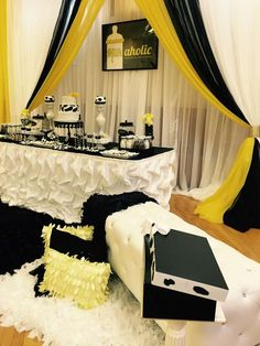 Black,white and yellow baby shower | CatchMyParty.com