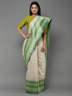 Off White Green Handwoven Banarasi Tussar Silk Saree