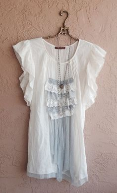 Gypsy tunic with lace and crochet details down the front