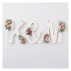 Ensemble de 3 lettres en bois fleurs sauvages séchées Lettre