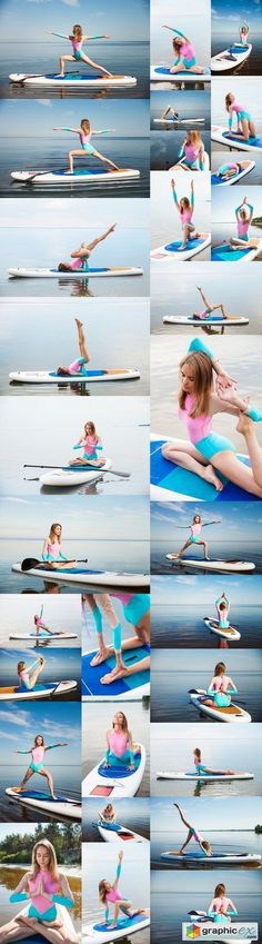 Woman doing yoga on sup board with paddle stock images