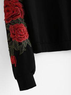Rose Embroidered Applique Sweatshirt -SheIn(Sheinside)
