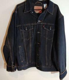 74e02d12ba96 Levis Denim Jacket Men s Size Large Dark Blue Jeans  fashion  clothing   shoes