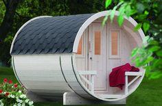 Platzsparend, effektiv und sehr gemütlich - das Saunafass 280 von Wolff Finnhaus. Erhältlich auf www.gartenhaus2000.de!