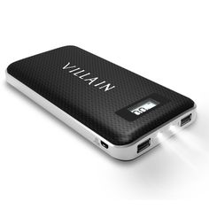 Amazon.com: Villain® - Portable Charger with 20000mAh Battery Capacity - with 2 Built-in Flash LEDs as Torch -Dual USB - Ideal Power Bank for iPhones, Android, iPads, Tablets, MP3 or MP4 Players and Cameras: Cell Phones & Accessories
