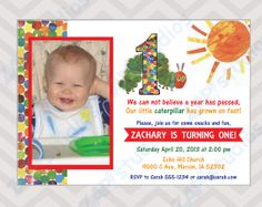 Hungry Caterpillar First Birthday Invitation  by ZAPStudios, $10.00