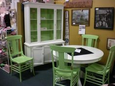upcycled hutch top   Gorgeous set. Hutch painted White Dove with Shades of Green beadboard ...